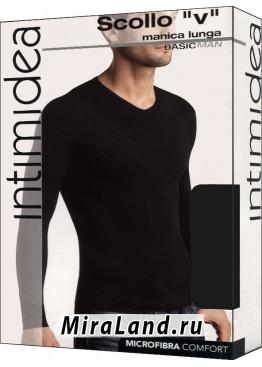 Intimidea uomo t-shirt scollo v manica lunga
